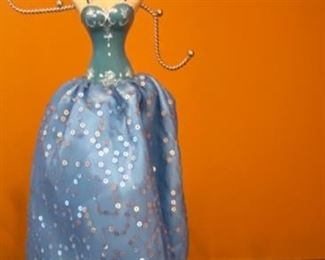 "Lot 1527  $12.00  Pair of Jewelry Stands with Dresses. 15"" H x 3"" Base. Very Cute!"