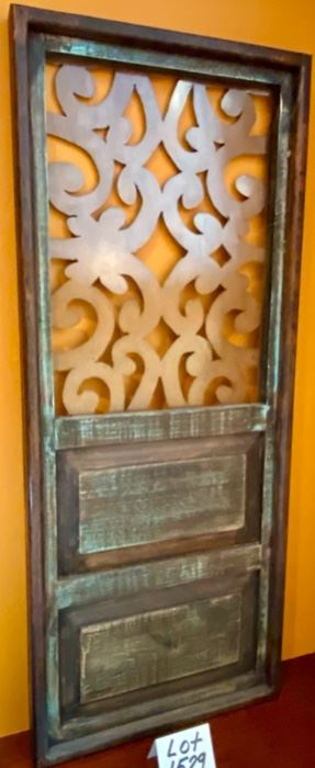 "Lot 1529 $75.00  Barn-Style Wood Door and Copper Metal Design Element with Hanging Brackets. 48"" T x 20"" W"