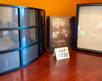 "Lot 1530  $30.00  3 Pc Lot. Brand New Shadow Box Fits Lot 1530.   $30.00. Three piece Lot.  8"" x 10"" Photo by Studio Decor, Curved Collage Frame with Nine 4"" x 6"" Slots for Photos in Black,  by Maiden, and Black Frame and Glass Shadow Box from Parisian Home 12"" W x 15"" H"