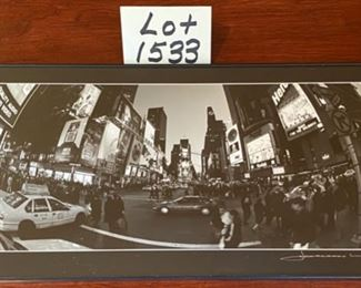 "Lot 1533  $30.00    2 Piece Lot.  ""Love You to the Moon and Back"" 8 Clip Photo Board and Black & White Panoramic Photo of Times Square in NYC."