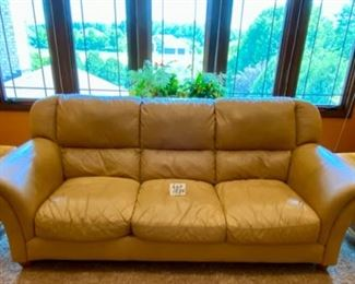 "Lot 1534. $450  Tan Leather 3-Cushion Sofa with Rolled Arms and Attached Comfy Cushions in Great Shape and Color.  Sofa 92"" L x 40"" H Back x 38"" D Cushion 24"" D x 17"" H to Seat Cushion."