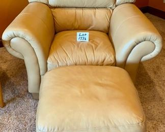 "Lot 1536. $375.00  Matching Tan Leather Oversized Chair & Ottoman with Rolled Arms and Attached Comfy Cushions in Great Shape and Color 46"" W x 40"" H x 38"" D,   Cushion 24"" D x 17"" H  x 21"" W"
