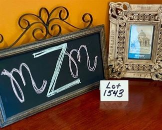 "Lot 1543  $28.00   2 Pc Lot.  Lite Frame Small Chalk Board with Wood Frame and Metal Decorative Top From the World Market.  Intricate Composite Frame for 4"" x 6"" Photo in Brown and Tan Shades  from Pier 1. Chalk: 17"" W by 13.5"" H."