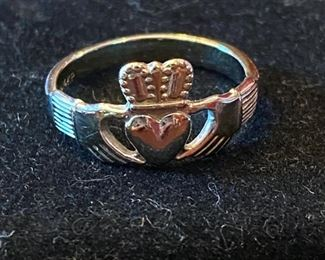 "Lot 1546  $125.00  Irish ""Claddaugh"" Ladies Ring Done in 14KP Gold (KP stands for Plumb Gold Not Plated) Yellow Gold Size"