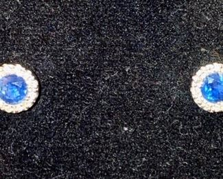 Lot 1547 $95.00 14k white gold, diamond chips, round blue sapphires flanked by tiny diamonds stud earrings from Macy's, lightly worn.
