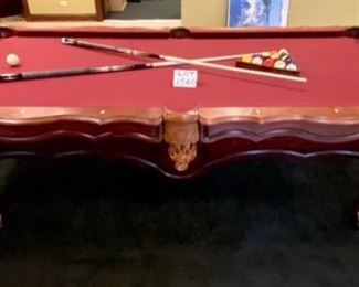 "Lot 1560  Asking $995.00  Peter Vitalie Co. ""Gore Gulch Select""  Premier Pool Table, 96"" L x 56"", with  American Heritage Pool Cues, A Set of Billiard Balls, a Training Ball by American Heritage, 1 Brush, 15 Ball and 8 ball Rack. I would have to say, this is one of the nicest looking Pool Tables I have had the privilege to offer for sale.  We do have vendors that specialize in Pool Table moving.  Since a pool table needs to be balanced and re-felted after a move, moving this by a professional is a must.  ."