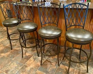 "Lot 1962   $360.00. Set of 4 30"" Premier Atrium Rounded Seat Swivel Bar Stools made of Wrought Iron with Full Back Support, Interwoven Lattice Pattern Back in Autumn Rust Finish and Coffee Colored Vinyl Upholstery.  30"" H Seat, 18"" Diameter Seat, 46"" H on Back Rest"