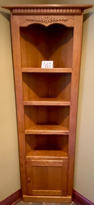 "Lot 1565. $125.00   Oak Corner Cabinet with 4 Shelves, 1 Cabinet Door and Detail on Top Section.  77"" H x 23"" W x 12"" D   Perfect for a bathroom corner, or really any corner in a home!"