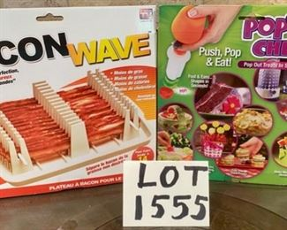 "Lot 1555 $16.00  Two ""As seen on TV!"" New in Box items:  Bacon Microwave Cooker, and Pop Chef for making melsons into various shapes."