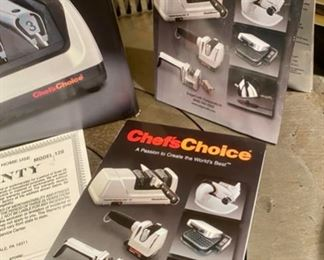 Lot 1558.  $95. Chef's Choice Professional 120 Knife Sharpener, Heavy Duty Model. New in Box.  Ebay sold prices range around $200.  BY THE WAY, there is an interesting video on You Tube about how to sharpen knives correctly using this machine.