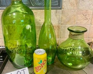 Lot 1559 $30.00 3 Pretty Green Glass Bottles/Vase/Decanter by Vidrios San Miguel.