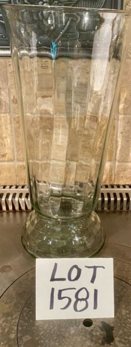 "Lot 1581  $10.00. Tall Hand-blown Vase, 14-1/4"" high - Beautiful!"