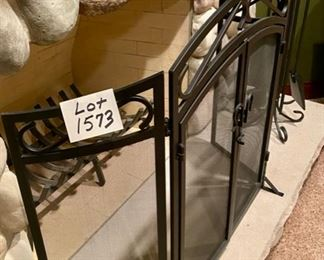 Lot 1573  $185.00 Wrought Iron 3 Fold Large Fireplace Screen.  Usually these stay with the home, so a very nice find.
