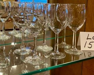 "Lot 1574  $18.00.   Set of six stemmed wine glasses.  There is a very nice weight and ""feel"" to them."