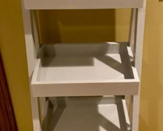 "Lot 1576 $75.00. ""Step Ladder"" Plant Stand, painted gray with 4 shelves.  48"" high x 15"" D x 16"" wide"