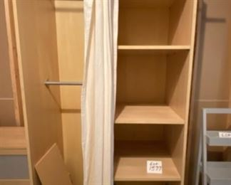 "Lot 1577  $215.00  Sending kids off to school or their first apartment?  Here are some fun Ikea pieces that are perfect for that tiny studio or room!  Ikea PAX Closet/2-Sided Wardrobe With 4 Shelves on one, and Clothes Closet on the Other.    91"" H x 39.5"" W x 26.5"" D.  Canvas Curtain."