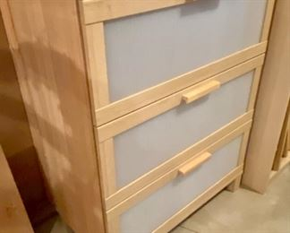 "Lot 1578. $40.00  Drawer Cabinet in Beechwood - Each Drawer has Opaque Front, 31.5"" W x15"" D, x 39"" H  by Ikea"