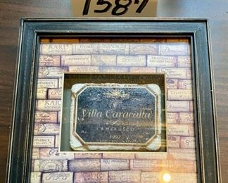 "Lot 1587 $35.00  Villa Caracalla Ambrusco Wine Tile in 8.5"" square frame, 3 Matching Candle Holders - 2 are 7"" tall, 1 is 7.5 T."