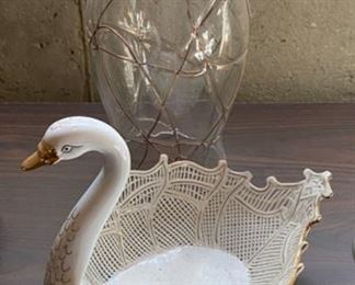 "Lot 1588 $27.00  Hurricane Lamp 12"" T,  Caminal  Ceramic Swan Candy Dish 9"" long x 6"" W x 7"" to Swan's Head"