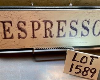 "Lot 1589 $38.00 Coffee & Tea Photo in 9x11"" Frame, 10"" Tall Pewter Candlesticks, Espresso Sign 16"" L x 6"""