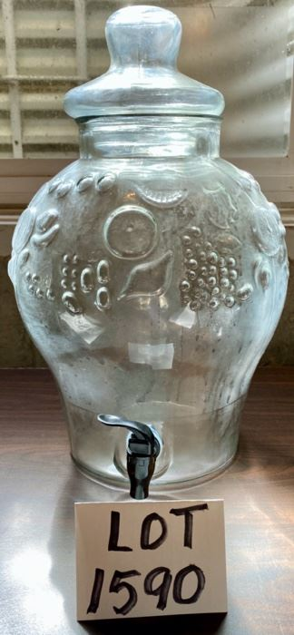 Lot 1590 $20.00  Pressed Glass Drink Dispenser with Grape Leaves in Relief.
