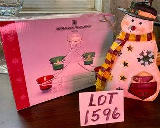 Lot 1596 $18.00. International Silver Co. Christmas Tree Votive Holder, Snowman Candle Holder
