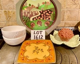 Lot 1612 $24.00   Metal Turkey Farm Scene Tray, , Leaf-Shaped pale green ceramic dish, cupcake candle, Squarish Colorful Serving Plaate, perfect for Thanksgiving, and Two White Holiday Bowls with decor.