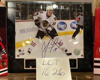 Lot 1626.  $80   Blackhawk's Fave and I think Captain Jonathan Toews Hand-Signed 8x10 Photo with NHLHOLO x COA, Plus, if that wasn't enough, 2 Brand New Toews Bobbleheads!