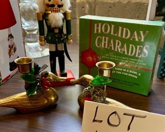 Lot 1623. $27.00.  Christmas Lot.  Nutcracker 8: Tall, Holiday Charades, Unopened, Brass Christmas Duck Candle Holders - pair,  Gorham silver-Plated Ornament frames 3/pkg New in package.  What a deal