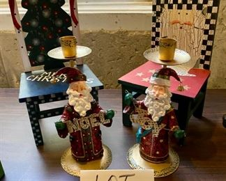 "Lot 1624. $ 25.00. Pair of Christmas Chairs 12"" T x 6"" Wide; Pair of Santa Candlesticks, and two santa figurines, holding a ""NOEL"" and a ""JOY"".   This lot is terrific!"