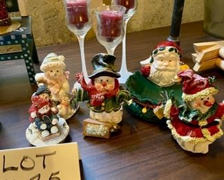 "Lot 1625.  Asking $20.  Mr. & Mrs. Snowman Figurines 4.5"" Tall, Tea Canister, Santa Soap Dish, Votive Candle Lid, Snowman Figurine, and set of 3 candles $20"