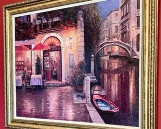 Lot 1513  $42.00. Giclee' Picture of Venice Restaurant along a Canal.