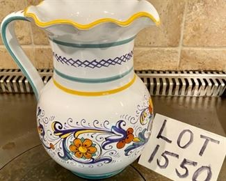 Lot 1550 $60.00 Sur La Table Nova Deruta Pottery Water Pitcher from Italy Retails for $128 new. The best price on eBay is $45.00 plus $20.00 Shipping and Tax.