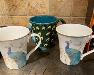 Lot 1603.  $28.00 Smart Gear Heated Travel Mug, New in Box, 2 Mugs Alumni from Truman State University, 1 Cool Peacock Shaped mug in relief, and 2 Peacock decorated mugs