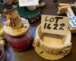 "Lot 1622.  $25. 2-Pc Lot includes Candle Hugger w/ Candle and Lid, Russ Ice Sculpture Snowman ""Ski Daddling"""