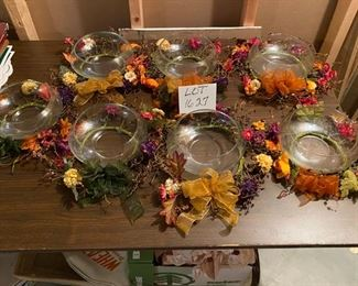 "Lot # 1627.  $50.00.  7 Piece Lot, 7 Floating Candle Bowls w/ Decorative Fall Wreaths	8"" Diam. x 3"" H Sorry we couldn't have cropped this a little nicer for you; this one slipped away from us.  See next pic for a little closer look."