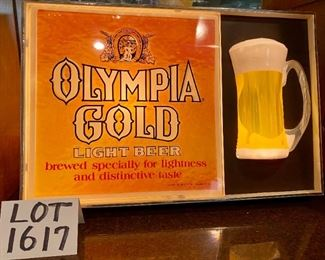 "Lot 1617. Asking $75.00.  Vintage Olympia Gold Light Beer Sign.  Lights Up Great!	20.5"" W x 13.5 H x 4"" D.  Perfect addition to your bar or Man Cave!"