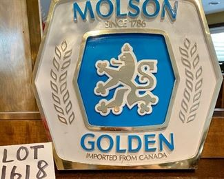 Lot 1618.  $20.00.  Vintage Molson Golden Beer Sign - another great addition to the wall in your bar or man cave!
