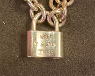 "Lot 1610.   Asking $325.  Tiffany and Co. 1837 Padlock Necklace on 16"" thick sterling chain with Original Box.  Sterling Silver 925,  Front of Padlock says 925 - T&Co, Authentic.  Asking $325"