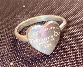 Lot 1608.  $125.00.  Tiffany & Co, Sterling Silver Heart Ring Size 6 - Heart says, Please Return to Tiffany and Co., New York 925""