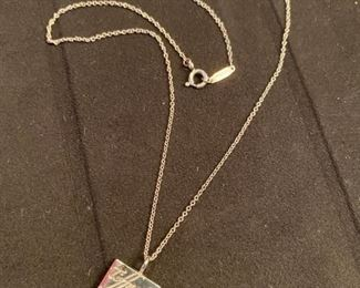 "Lot 1607A.  Just in case you didn't see enough of this beautiful necklace.  BY THE WAY you can't go wrong with a Tiffany Silver necklace for a gift giving idea..  Asking $150.  Tiffany & Co. Sterling Silver necklace - 16"" with pendant in Script"