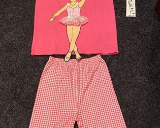 Lot 1635.  $24.00.   Boutique Lot  New with Tag - Tickle Me Ballerina, Pink Shirt featuring a darling ballerina paired with matching Capri Pants   Girls Size L 12/14 $48 brand new,