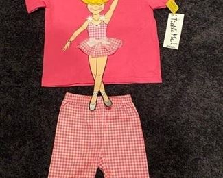 Lot 1636 $24.  Tickle Me Ballerina , Pink Shirt w/Capri Pants, Girls sz Small - Sz 4/5 New w/$48 tag.  Big Sister, Little Sister?  How darling!!  Please be sure to specify which size you want - the photos may be reversed.
