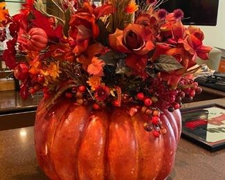 "Lot 1640.  $30.00.  The Great Pumpkin Decor - 21"" Diameter, 27"" Tall This is a terrific fall floral display, worth every penny!"