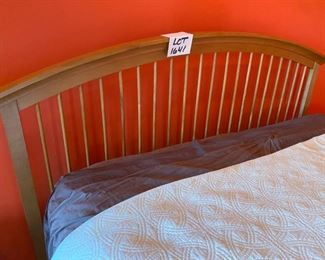 "Lot 1641.   Asking $750.00   Stanley Furniture Maple Queen Bed with Headboard and Footboard and Mattress/Box Spring.   Includes the two side night tables  (Tops of nightstands are in Rough Shape). 80"" W.   There are a number of accompanying pieces to this bed - the Homeowners paid $5,255 for the bed, 2 nightstands, 1 long dresser with mirror, 1 tall 12-drawer dresser and the desk."
