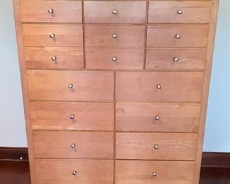 "Lot 1642.  $475.  Stanley Furniture Tall Boy, 11 Drawers Nice Condition  58"" H x 59.5"" W x 18"" D"