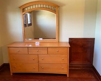"Lot 1645.  $475.    Stanley Dresser with 7 Drawers and Matching Mirror. 66"" L x 19"" D x 34"" H"