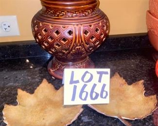 Lot 1666.  $25.00.  Decorative Lidded Dish and two metal leaf shaped plates.  - perfect for fall decor.