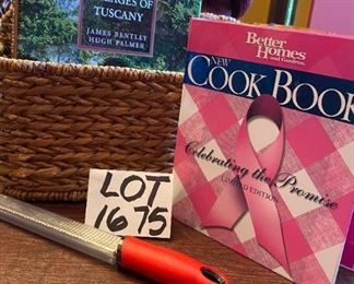 "Lot 1675.   $36. Woven Grass basket with Iron decorative handle, book ""Most Beautiful Villages of Tuscany,""   Better Homes Breastt Cancer Cookbook,  and a microplane for grating hard cheeses and other uses - like pedicures!!"