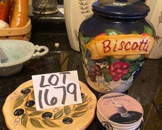 Lot 1679.  $25.00. Nonnie's Biscotti Jar, Provincial Olives Trivet and Coffee Mocha coasters